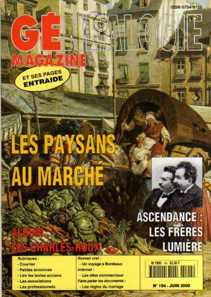 Généalogie Magazine n° 194 - juin 2000