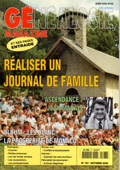 Généalogie Magazine n° 197 - octobre 2000