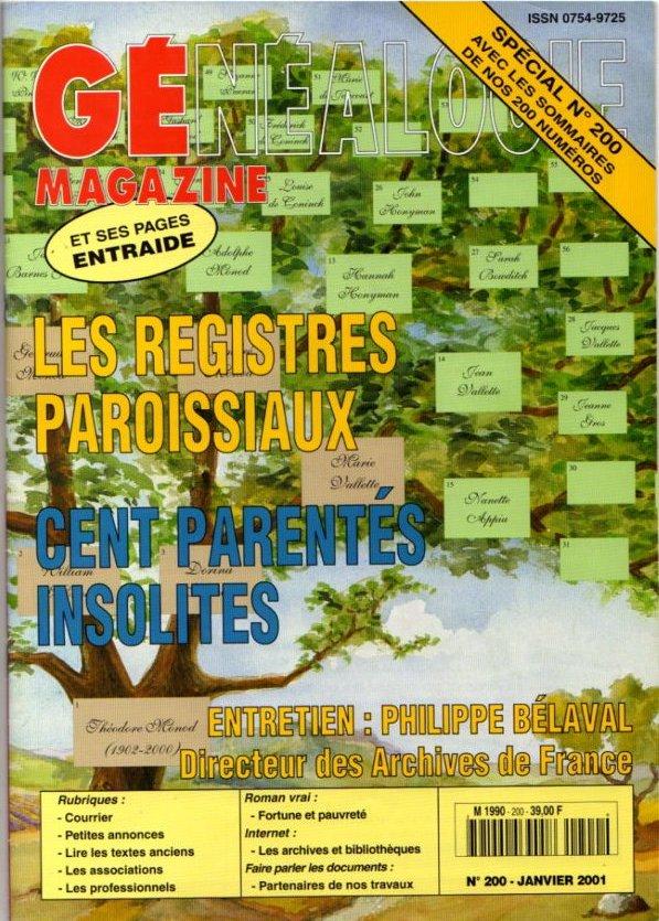 Généalogie Magazine n° 200 - janvier 2001
