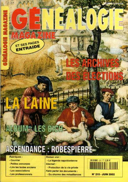 Généalogie magazine n° 215 - juin 2002