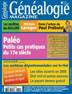 Généalogie Magazine N° 279 - Avril 2008