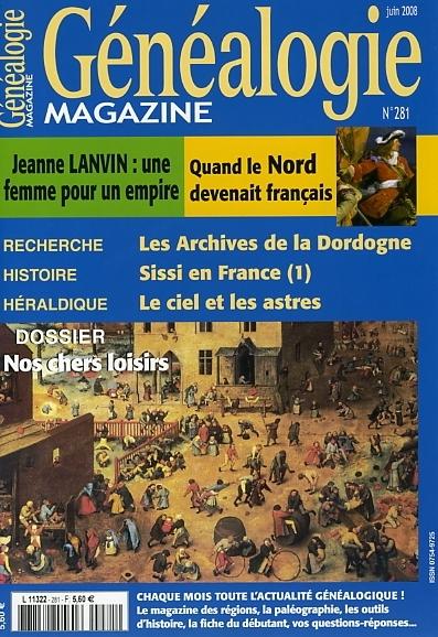Généalogie Magazine N° 281 - Juin 2008