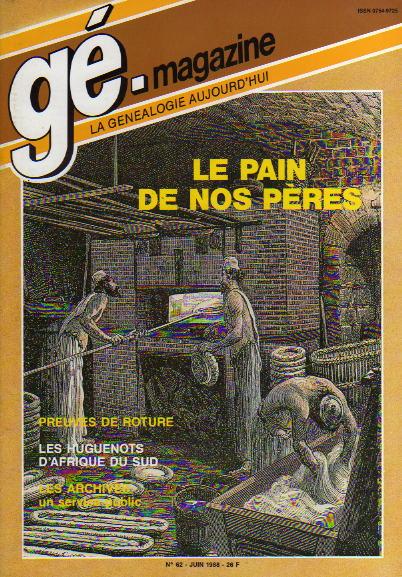 Généalogie Magazine n° 062 - juin 1988