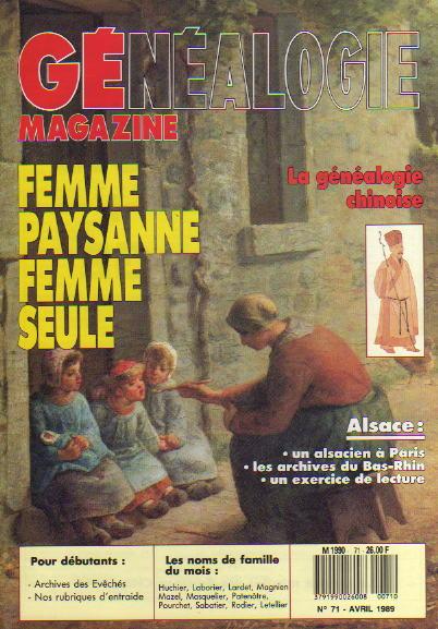 Généalogie Magazine n° 071 – avril 1989