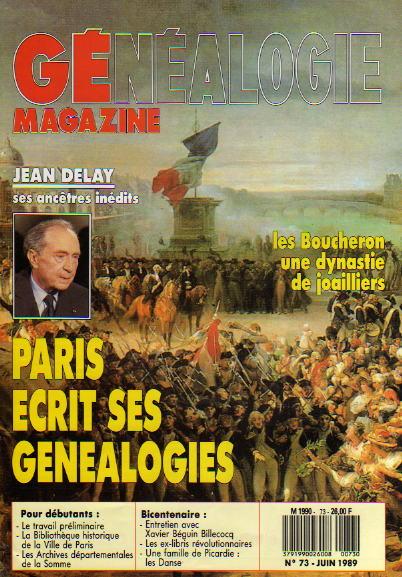 Généalogie Magazine n° 073 – juin 1989