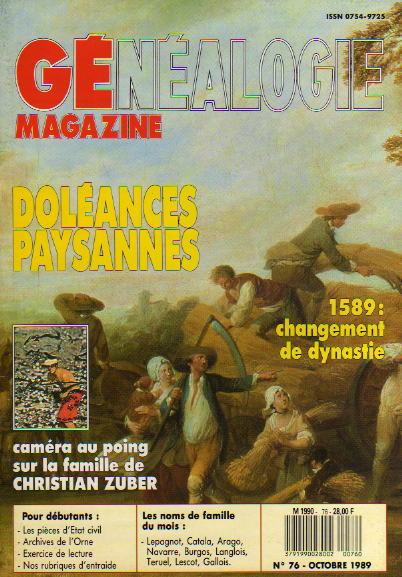Généalogie Magazine n° 076 – octobre 1989