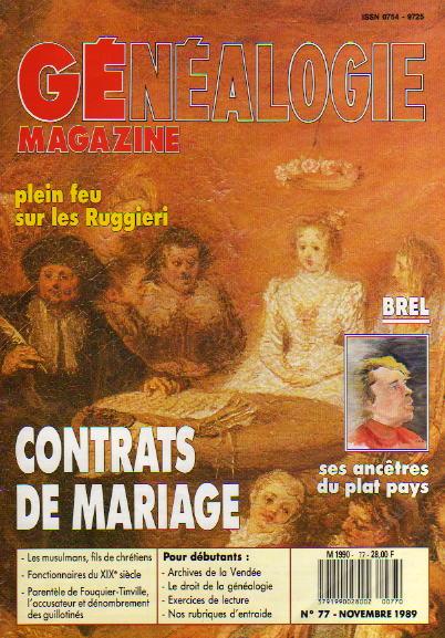 Généalogie Magazine n° 077 – novembre 1989