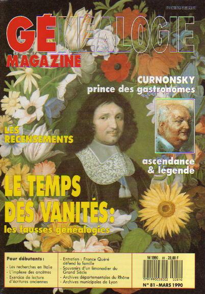 Généalogie Magazine n° 081 - mars 1990