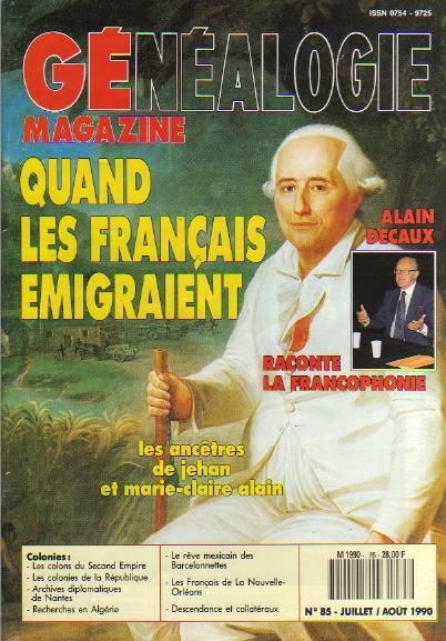 Généalogie Magazine n° 085 – juillet - août 1990