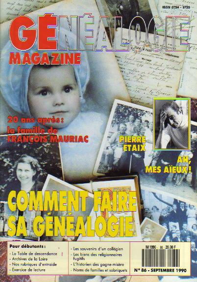 Généalogie Magazine n° 086 – septembre 1990