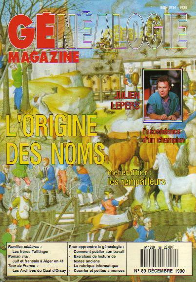 Généalogie Magazine n° 089 – décembre 1990