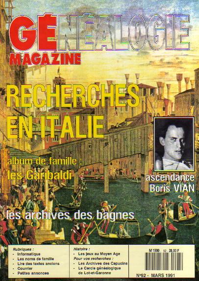 Généalogie Magazine n° 092 – mars 1991