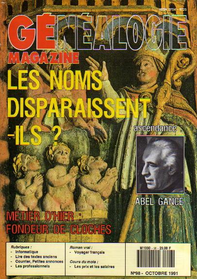 Généalogie Magazine n° 098 - octobre 1991