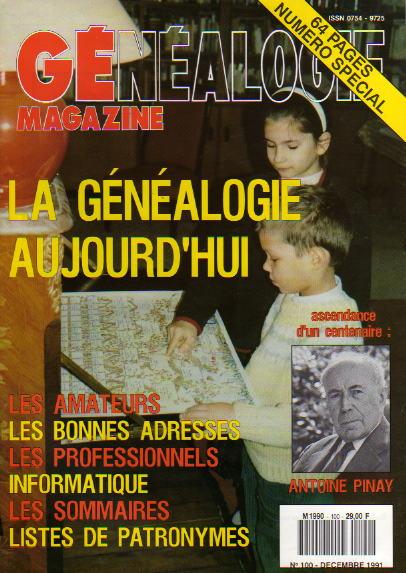 Généalogie Magazine n° 100 – décembre 1991