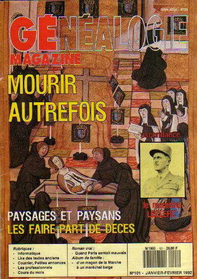 Généalogie Magazine n° 101 - janvier-février 1992