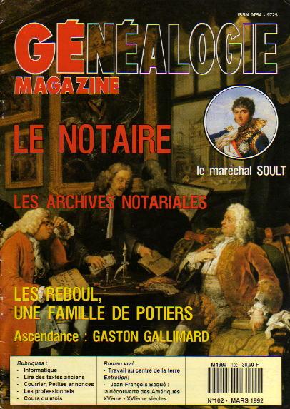 Généalogie Magazine n° 102 – mars 1992