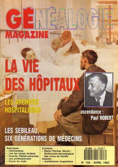 Généalogie Magazine n° 103 - avril 1992
