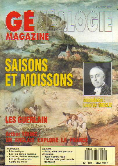 Généalogie Magazine n° 104 - mai 1992