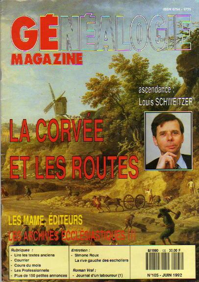 Généalogie Magazine n° 105 – juin 1992