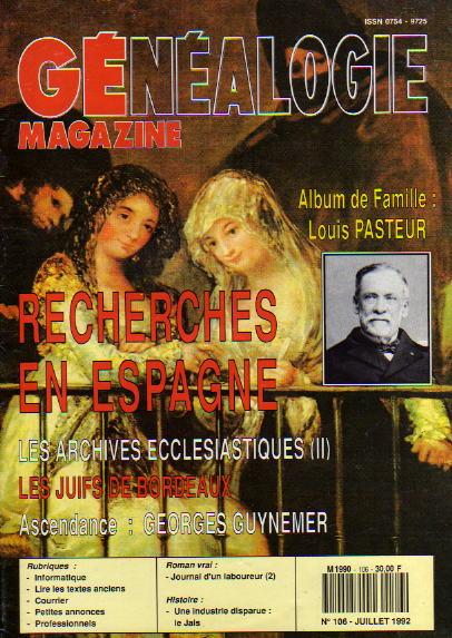 Généalogie Magazine n° 106 – juillet 1992