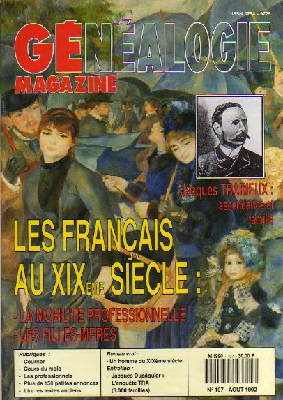 Généalogie Magazine n° 107 - août 1992