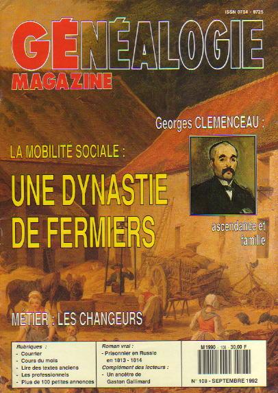 Généalogie Magazine n° 108 - septembre 1992