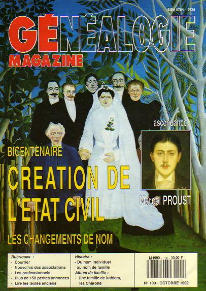 Généalogie Magazine n° 109 - octobre 1992