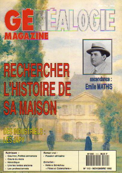 Généalogie Magazine n° 110 - novembre 1992