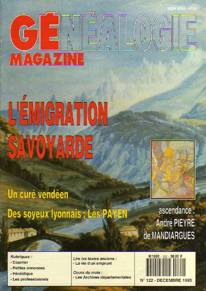 Généalogie Magazine n° 122 - décembre 1993