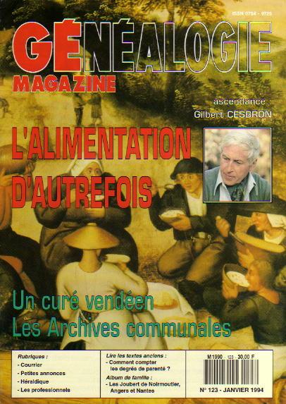 Généalogie Magazine n° 123 – janvier 1994