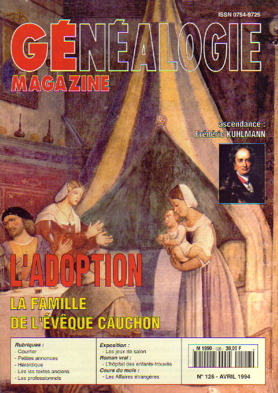 Généalogie Magazine n° 126 – avril 1994