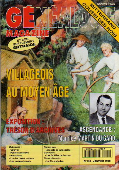 Généalogie Magazine n° 145 - janvier 1996