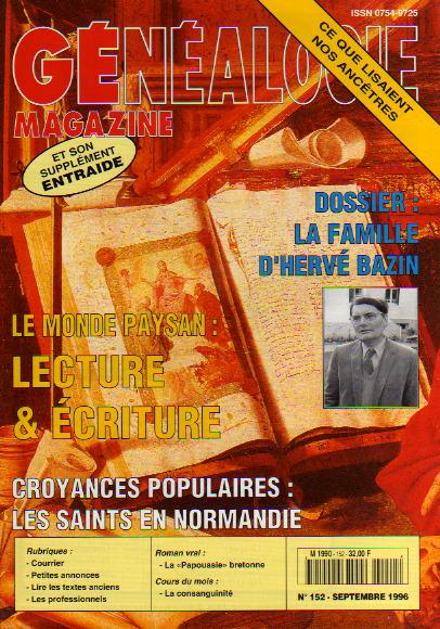 Généalogie Magazine n° 152 – septembre 1996