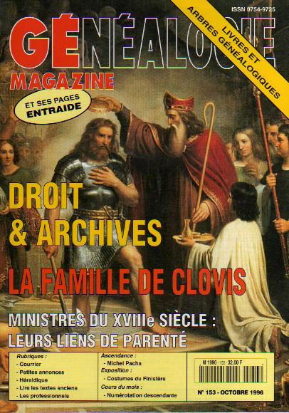 Généalogie Magazine n° 153 - octobre 1996