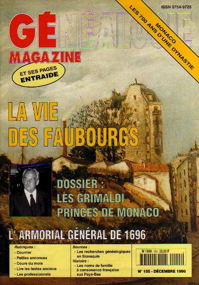 Généalogie Magazine n° 155 - décembre 1996