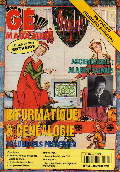 Généalogie Magazine n° 156 - janvier 1997