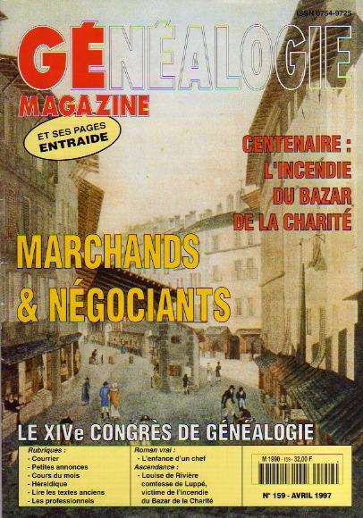 Généalogie Magazine n° 159 - avril 1997