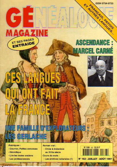 Généalogie Magazine n° 162 – juillet-août 1997