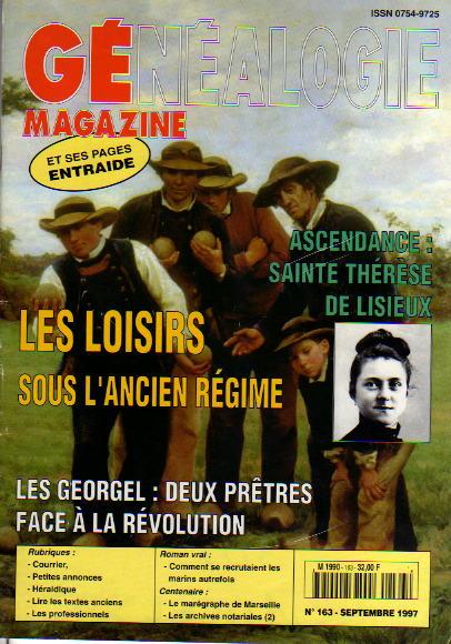 Généalogie Magazine n° 163 - septembre 1997