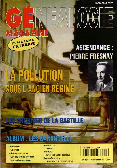 Généalogie Magazine n° 165 - novembre 1997