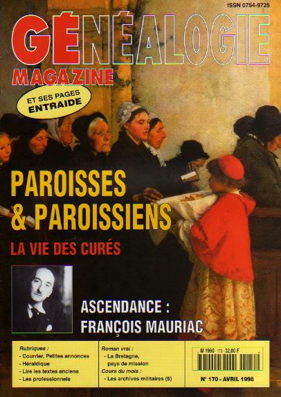 Généalogie Magazine n° 170 - avril 1998