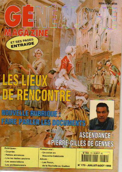 Généalogie Magazine n° 173 - juillet-août 1998