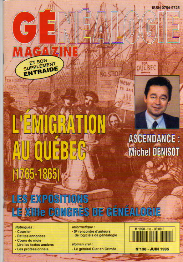 Généalogie Magazine n° 138 – juin 1995