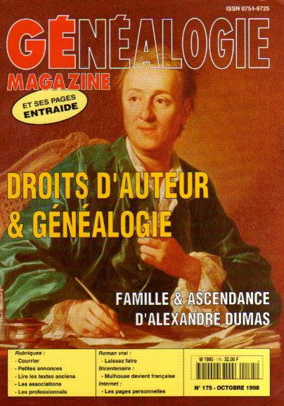 Généalogie Magazine n° 175 - octobre 1998
