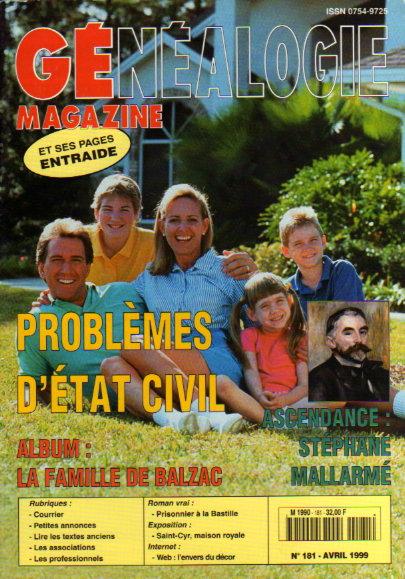 Généalogie Magazine n° 181 - avril 1999