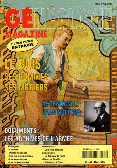Généalogie Magazine n° 182 - mai 1999