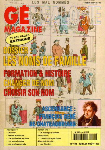 Généalogie Magazine n° 184 - juillet-août 1999