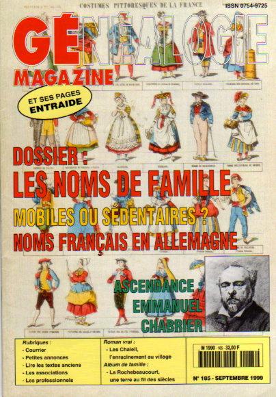 Généalogie Magazine n° 185 - septembre 1999
