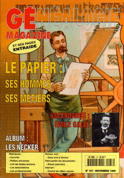 Généalogie Magazine n° 187 - novembre 1999