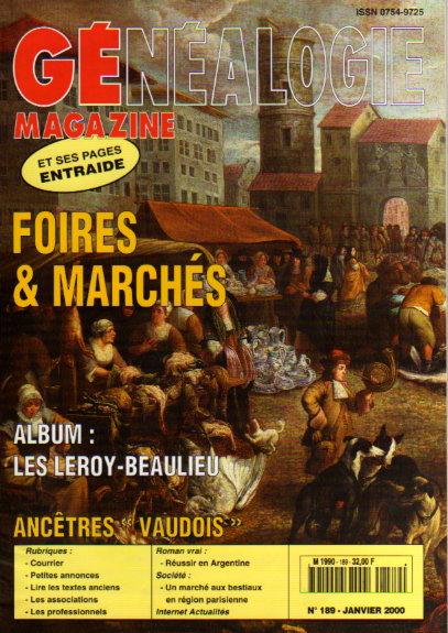 Généalogie Magazine n° 189 - janvier 2000